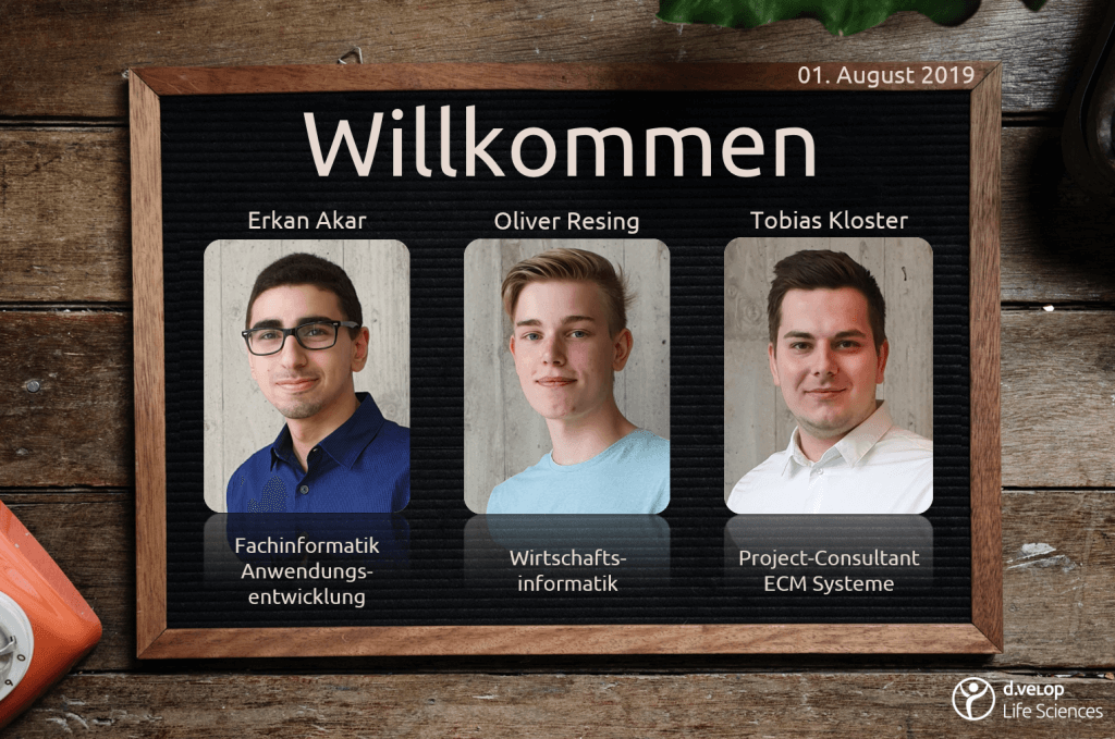 Photos of the new employees Erkan Akar, Oliver Resing and Tobias Kloster