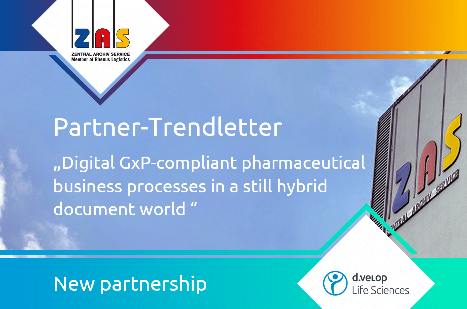 New partnership between d.velop and Z.A.S. Zentral Archiv Service. Partner Trendletter about digital GxP-compliant pharmaceutical business processes in a still hybrid document world