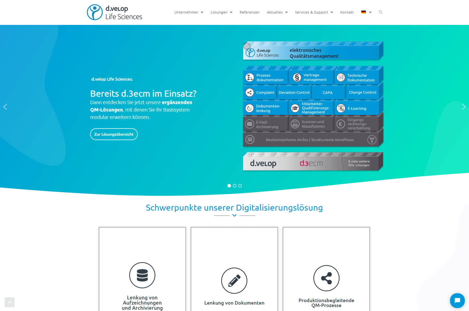 Illustration of the homepage of the website relaunch of d.velop Life Sciences GmbH