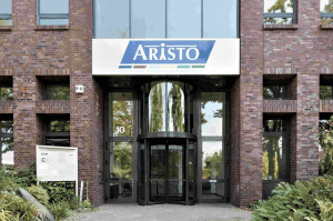 Photo showing the entrance door of the company building of Aristo Pharma Group